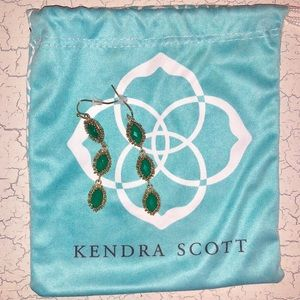 Kendra Scott Green and Gold droop Earrings